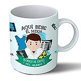 Planetacase Taza Desayuno Aquí Bebe El Mejor Tecnico De Rayos del Mundo Regalo Original Ceramica 330 Ml