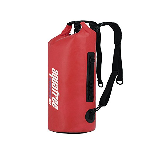 20L Red Waterproof Dry Backpack with Adjuctive Padded Shoulder Strap Air Valve prefectly for Kayaking Boating Rafting Wwiming Fishing Surfing Diving Snorkeling and All Water Sport