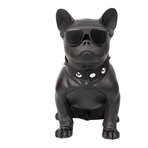 LCZ Intelligente Überdimensionierte Bulldogge Bluetooth Lautsprecher Ganzkörper Hund Splitter Resistenter Lautsprecher Hundekopf Tragbarer FM Radio,Black,Schwarz