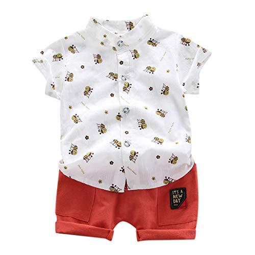 Baby Junge Kleidung Set Hemden Freizeitshorts Zweiteilig Anzug Kleinkind Kinder Kurzarm Bienenmuster Shirt Tops + Shorts Outfits Set, Weiß, 18-24 Monate