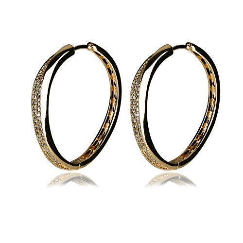 Yumay 9ct Yellow Gold Hoop Earrings with Prong Setting Crystal for Women.