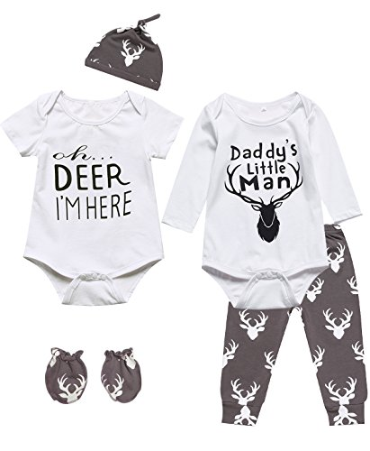 6 Pieces Outfit Set Baby Boys' Funny Deer Print Romper (0-3 Months, White03)