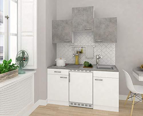 respekta Küche Miniküche Singleküche Küchenzeile Einbauküche 150 cm weiß Beton