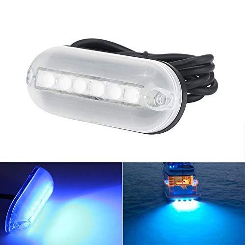 KKmoon Lumière de Poupe 12V 6LED, Lumière Sous-marine Marine LED, Utilisée pour Natation, Pêche, Conduite d'éclairage de Bateau, Lumière de Bateau étanche, Longueur de Câble 1,5 Mètres