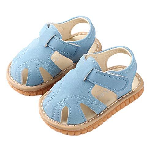 VIccoo Babysandalen, Baby Jungen Mädchen Kunstleder Sandalen Sommer Sweet Candy Farbe Gummisohle Flats Kleinkind Prewalker Closed-Toe Krippe Schuhe 0-2T - Hellblau - 15