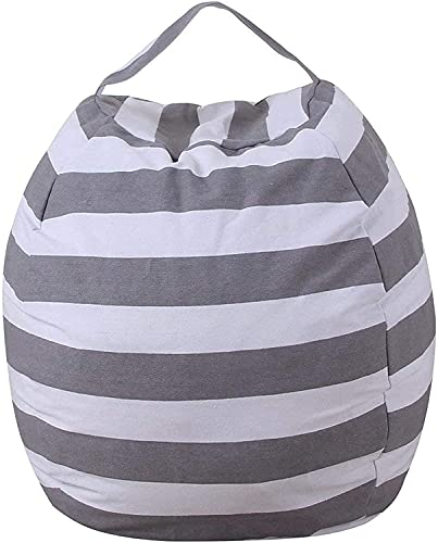 Kids Bean Bag Canvas Storage Bag Organizer Bag for Stuffed Animal Plush Toy Clothes Quilts Kids Soft Seat Cover (Grey)