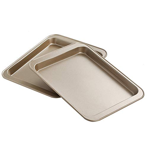 Small Baking Sheet 2 Pack, Walooza 8 Inch Carbon Steel Half Toaster Oven Pan Tray Replacement, Heavy-gauge Steel, Set of 2