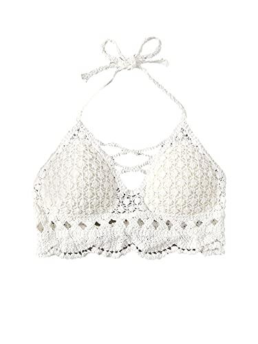 SweatyRocks Women's Self Tie Open Back Swimsuit Crochet Halter Bikini Top White M