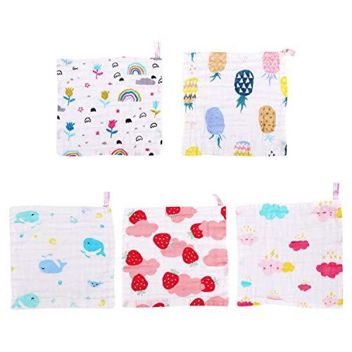 NUOBESTY 5 Stks Baby Washandjes Ultra Zachte Katoenen Handdoek Pasgeboren Bad Gezicht Handdoek Leuke Herbruikbare Babydoekjes Kraamcadeau