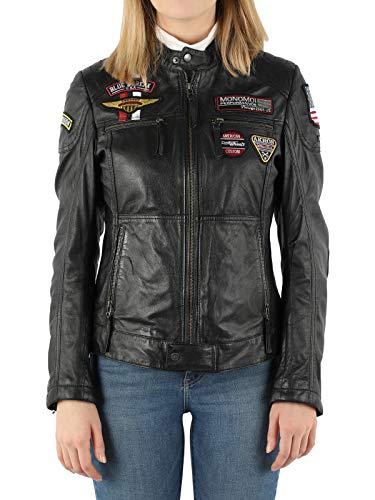 MONOMOI Lederjacke Damen, schwarz, Motorradjacke Damen aus Leder mit Protektoren, Bikerjacke Damen aus Echtleder