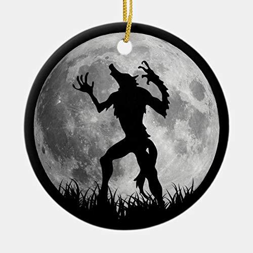 McC538arthy Christmas Ornaments 2020, Cool Werewolf Full Moon Transformation Hanging Ornament Ceramic Keepsake Xmas Tree Decor 3''