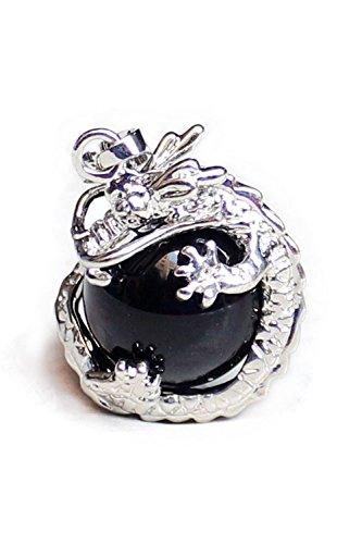 Huante 1 PCS Natural 15mm Piedra Preciosa Bola Colgante Envuelta Plata Aleacion Dragon para Mujeres Encantada Joyeria Collar - Negro Onix
