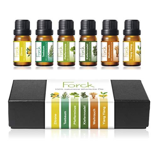 FORCK Ätherische Öle Set, 100% Pur & Naturreines Aromatheraphie Duftöl, 6 x 10 ml (Zitrone, Teebaum, Pfefferminze, Kiefernnadel, Weihrauch, Ylang Ylang)