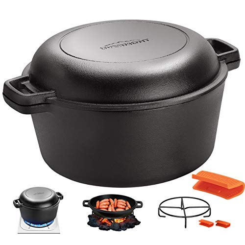 Overmont Dutch Oven 5 QT Cast Iron Casserole Pot Skillet Lid Pre Seasoned with Handle Covers & Stand for Camping Home Cooking BBQ Baking