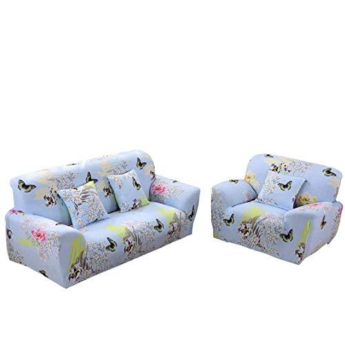Sofabezug stretch L form Moderne Ecksofa Überzüge sofa schonbezug 1 2 3 4 sitzer,für Sofa mit recliners, 1/2/3/4 Seater Sofa Slipcover Stretch Stilmöbel Abdeckung,Blue Butterfly,1 Seater, 35-55 inch