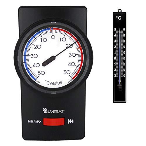 Lantelme Gartenthermometer Set Min Max Thermometer Bimetall Analog Innen Außen Farbe schwarz 7261