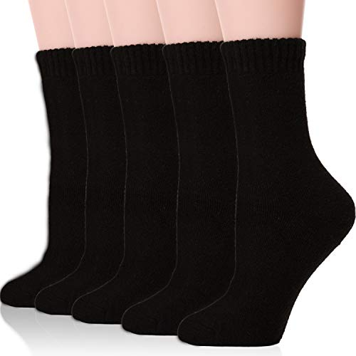 Womens Wool Socks Thermal Boot Long Crew Thick Heavy Comfy Fuzzy Winter Warm Ladies Work Soft Socks for Cold Weather(Black)