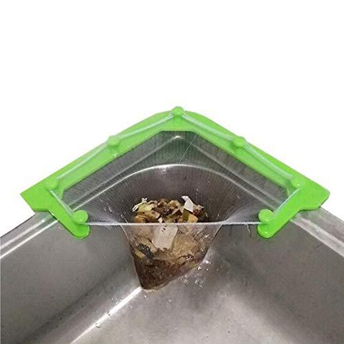 Xinjiashou Cesta Triangular para Fregadero con 50 Bolsas De Colador para Fregadero - Soporte De Almacenamiento para Fregadero De Esquina De Cocina, Drenaje De Agua para Residuos De Alimentos