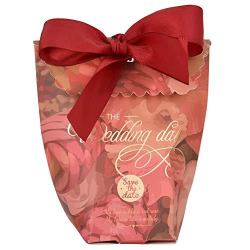 Ftory Caja de Regalo - 50PCS Caja de Regalo Caja de Dulces de Hadas con Hermosa Flor para Fiesta de cumpleaños, Fiesta de Bodas(Loto Rosa)