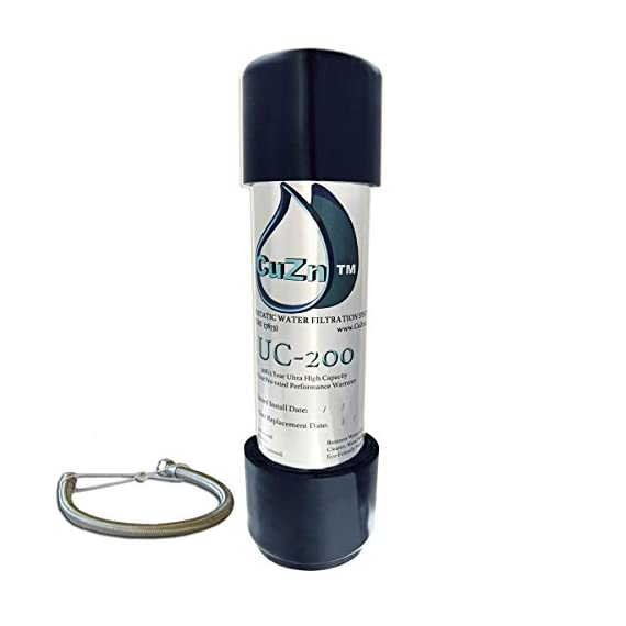 CuZn UC-200 Under Counter Water Filter - 50K Ultra High Capacity - Made in USA 1 Incredible Capacity and Lifespan, Up to 5 Years per Filter; CuZn Backs the UC-200's Long Lasting Performance With a Comprehensive 5 Year Prorated Performance Warranty, CuZn Will Provide Warranty Replacement if Early Expiration Occurs; the UC-200 Is for Municipal Water Only; Do Not Use With Private Well Water; the UC-200 Is a Water Purifier, the UC-200 Does Not Soften Water; the UC-200 Will Not Resolve Issues Caused by Excessively Hard Water Like Lime Scale Mineral Deposits on Tea Kettles Simple to Install; The UC-200 is Designed for Direct Connect to the main Kitchen Sink Cold Water Line; No Drilling Through the Countertop to Mount an Extra Filter Dispenser Faucet Required; How to Install Video Tutorial Instructions Available; If You Have Non-Standard Under Counter Plumbing Connection Issues or Are Unable To Complete Installation, CuZn Technical Support Will Diagnose and Provide All Additional Adapters Required To Complete Your Installation 3 Stage Filtration Process Utilizing Micro Sediment Membranes, KDF-55 and Coconut Shell Carbon; the UC-200 Will Not Reduce TDS or PPM Type Meter Readings; if TDS or PPM Removal Is Desired, a Reverse Osmosis Type Filter System is Required; the UC-200 Is Designed To Purify Water Without Reducing the Health Beneficial Mineral Content and as a Result the TDS or PPM Type Meter Readings Will Show the Same Results When Measuring the UC-200's Filtered Water and the Unfiltered