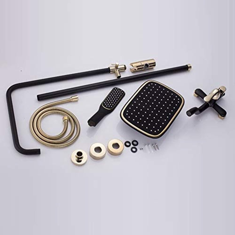 Retro Style schwarz Europischen Dusche Kombination, Badezimmer Armatur Set mit Regendusche und Handheld, an der Wand montiert