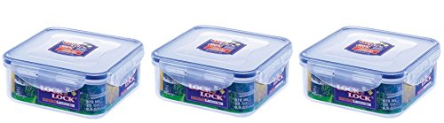 3 x Lock And & Lock Square Air Tight Kitchen Food Container 870ml HPL823