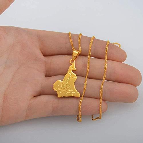 BACKZY MXJP Halskette Kamerun Karte Anhänger Halskette Kette W / 45Cm Oder 60Cm Gold Farbe Schmuck Frauen Männer Afrika Schmuck Cameroun Halsketten