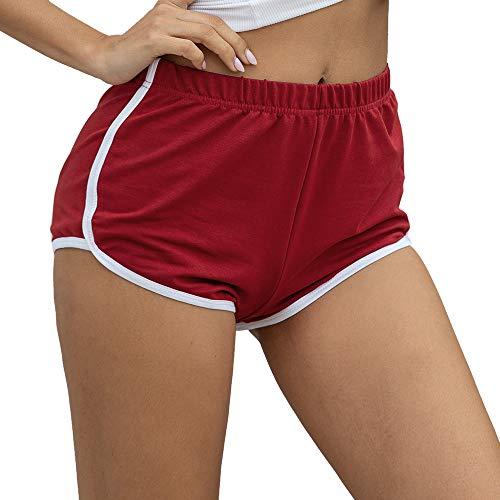 Litthing Pantalones Cortos Deportivos para Mujer Pantalones Cortos de Algodón Pantalones Sxey Verano Playa Casual Yoga Danza Elástico Suave Transpirable Color Negro Gris Rojo (Rojo, S)