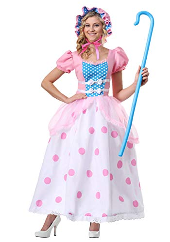 Little Bo Peep Costume for Women, with Pink and Blue Bonnet, Polka Dot Dress Small