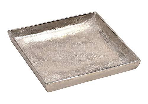 Tablett Dekoteller Silber Metall massiv Tischdeko Schale Dekoschale Dekotablett (Modell 1: 20 x 20 cm)