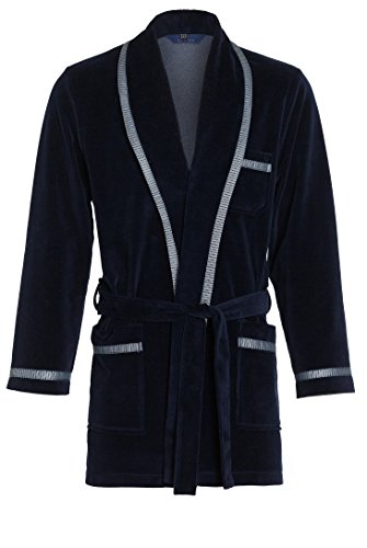 Courte Robe de Chambre pour Hommes RE-117 Velours - - Bleu foncé – 3XL