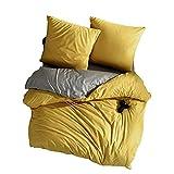 Biancheria da letto 200 x 220 cm, in 100% cotone turco, set da 3 pezzi – 1 copripiumino reversibile 200 x 220 cm e 2 federe 80 x 80 cm, morbido e comodo, adatto alle allergie