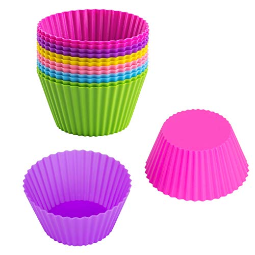 Silicone Baking Cups, McoMce 12 Pack Bright Color Silicone Cupcake Baking Cups, Non-Stick Cupcake Liners, Standard Size Muffin Liners, Holder Reusable Silicone Baking Cups, BPA Free(6 Rainbow Colors)