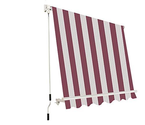 Megashopitalia Tenda da Sole da Esterno per Balcone con Sistema a Caduta Veranda con Bracci in Alluminio Bordeaux Crema Soffitto o Parete (L250xP250cm)