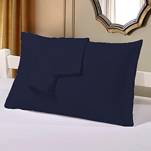 Bedding Attire 2 piezas fundas de almohada de algodón egipcio de 600 hilos Queen 50 x 75 cm y color azul marino