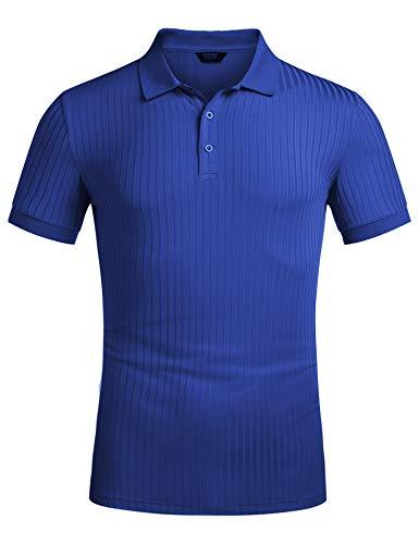 COOFANDY Outdoor Golf Shirt Freizeit Herren Kurzarm Polo Shirt Polokragen Polohemd aus Baumwoll Streifen Elegante Polohshirt