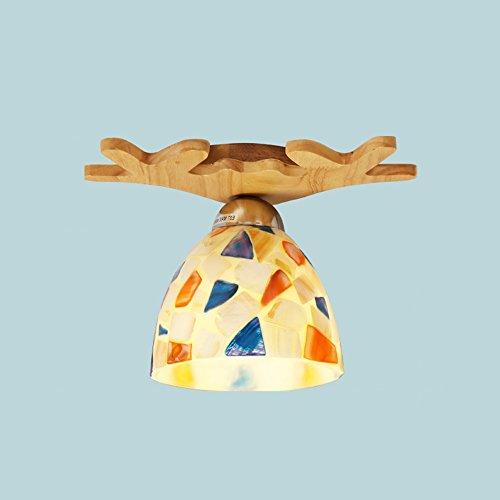 Plafonnier Peaceip Lampe de Plafond en en Bois Massif Simple Nordic, pour entrée, allée, Couloir, Balcon (Couleur : A)
