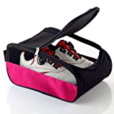 Getfitsoo Golf Shoe Bag, Pink Golf Shoes Bags Women Outdoor Zippered Carrier Bags with Ventilation Sport Shoes Bag Travel Shoe Bags (Pink)