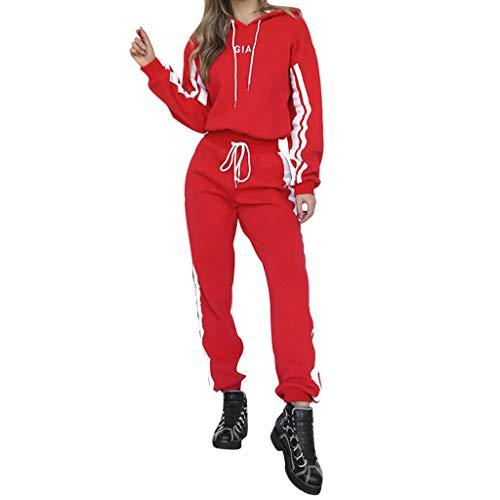 TUDUZ Damen Hausanzug Jogginganzug Jumpsuit Langarm Pullover Sportanzug Trainingsanzug Rundhals Sweatshirt Lang (S, Y-Rot)