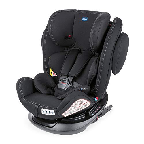 Chicco Unico Plus Silla Coche Reclinable Bebés de 0-36 kg, Grupo 0+/1/2/3, Niños de 0 a 12 Años, ISOFIX, Fácil Instalar, Reposacabezas Ajustable, Protección Lateral, Reductor Bebé, Color Negro (Black)