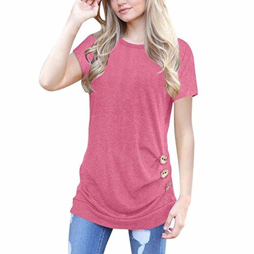 OVERDOSE Damen Kurzarm Lose Knopfleiste Bluse Einfarbig Rundhals Tunika T-Shirt Sommer Oberteil Tops(A-Pink,L)