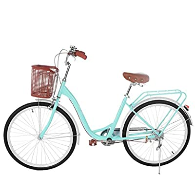 26 Inch Women's Cruiser Bike,Classic Bicycle Retro Bicycle Beach Cruiser Bicycle Retro Bicycle (Women's Bike,Lady, Gloss Blue) (Gloss Blue)