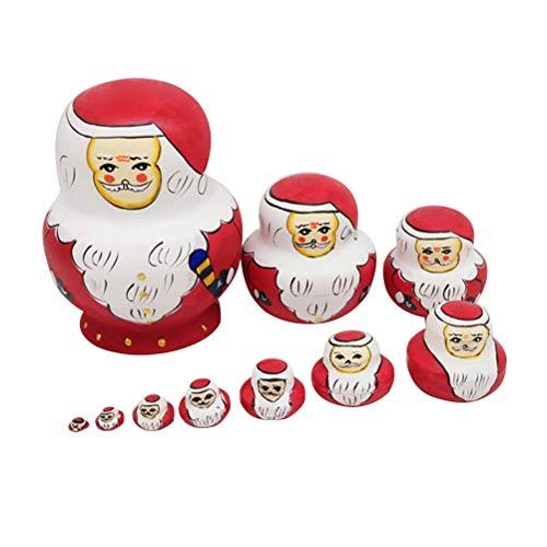 Supvox Père Noël Russie poupées gigognes Puzzle Jouets en Bois Cadeau Home Decor 10 PCS