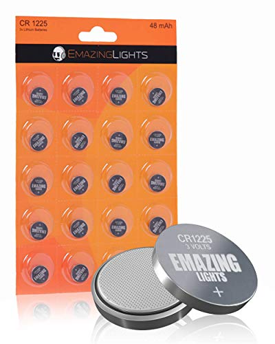 EmazingLights CR1225 Batteries 3 Volt Lithium Coin Cell 3V Button Battery (20 Pack)