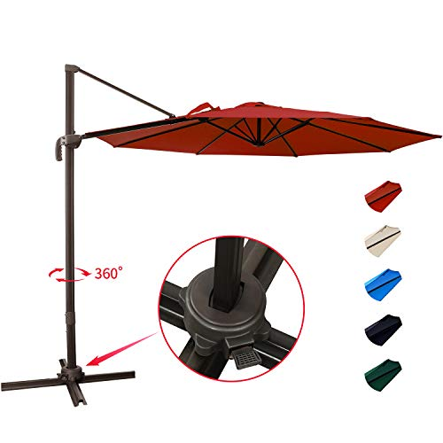 KITADIN Cantilever Umbrella - 10Ft Offset Patio Hanging Umbrella,Outdoor Market Umbrellas with Crank Lift & Cross Base (10 Ft, Red)
