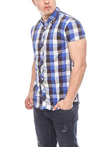 Tom Tailor Denim Hemd Kariert 1/2 Small-Kent Chemise Casual, Bleu (Preppy Jean Blue 6682), S Homme