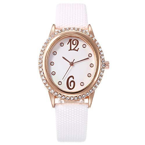 Allskid Mujer Relojes Elíptico Rhinestone Marcar Cuarzo Chicas Cuero de la PU Correa de Reloj Relojes de Pulsera (33 * 37mm, Blanco)