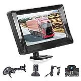 Cámara de Marcha Atrás y Monitor LCD de 5 Pulgadas, Camara de Visión Trasera Kit visión Nocturna Impermeable IP69, 9-35V para Coches Caravanas Camión