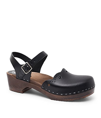 Sandgrens Swedish Wooden Low Heel Clog Sandals for Women, US 9-9.5 | Milan Black Veg DK, EU 40