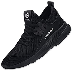 DYKHMILY Work Trainers for Men Women Steel Toe Cap Safety Shoes Lightweight Breathable Safety Trainers (Sport Black,6 UK)